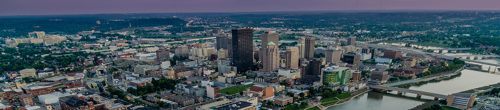 Dayton skyline and river